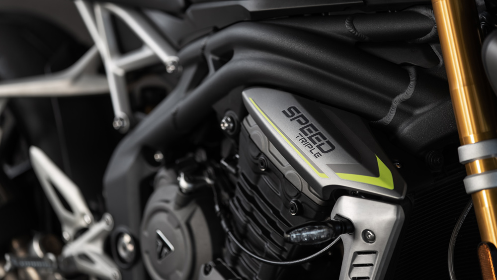 The engine on the new 2021 Triumph Speed Triple 1200 RS.