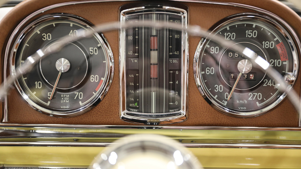 The interior of a 1963 Mercedes-Benz 300 SL Roadster.