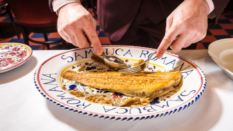 Whole Branzino served tableside at Carbone Miami