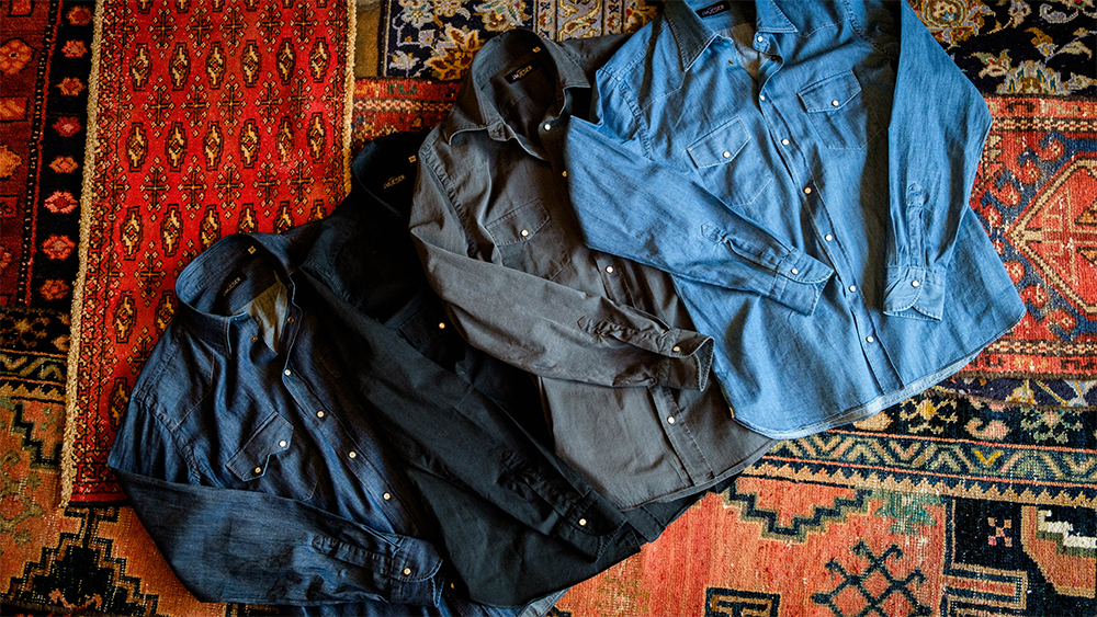 J. Mueser's 'Neapolitan Snap' shirts in a variety of washes.