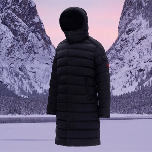 A men's full-length coat from Moncler's 'Born to Protect' collection.