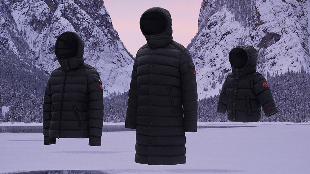 Three models from Moncler's 'Born to Protect' collection.