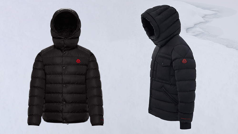 Two models from Moncler's 'Born to Protect' collection.