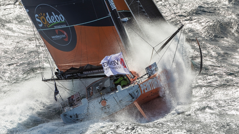 French skipper Kevin Escoffier is training on Imoca PRB for the Vendee Globe off Port La Foret, France, on August 29, 2020. (Photo by Jean-Marie Liot/PRB)#FR# PORT LA FORET, FRANCE - 29 AOUT, 2020: Le skipper francais Kevin Escoffier s'entraine pour le Vendee Globe à bord de l'Imoca PRB au large de Port-La-Foret, France, le 29 Aout 2020.