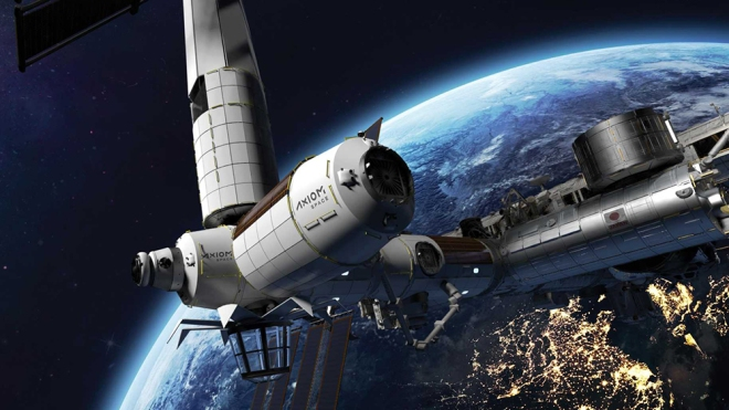 A rendering of the commercial space station being built by Axiom Space