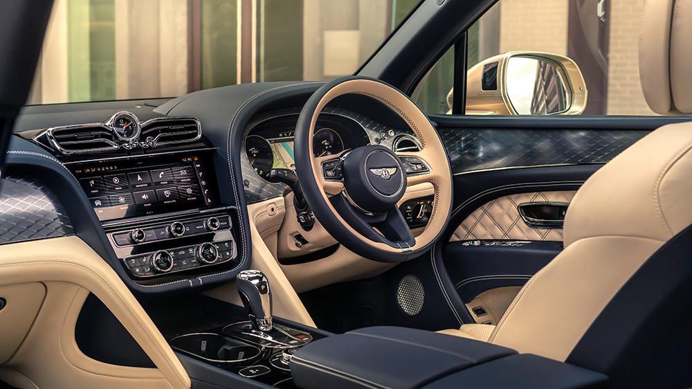 Inside a right-side drive 2021 Bentley Bentayga Hybrid