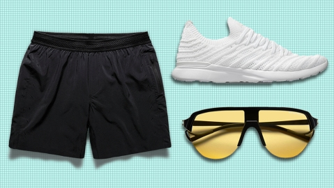 Ten Thousand shorts, APL sneakers, District Vision sunglasses