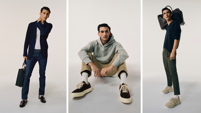 Three looks featuring pieces from Matches Fashion's Wardrobe Foundations.