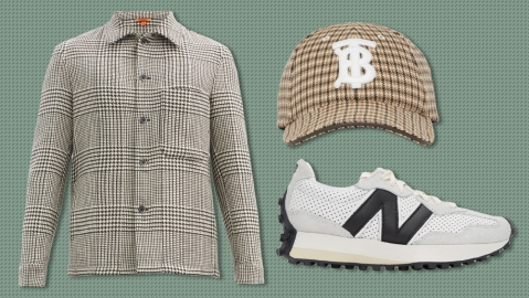 Barena jacket, Burberry hat, Casablanca x New Balance sneakers