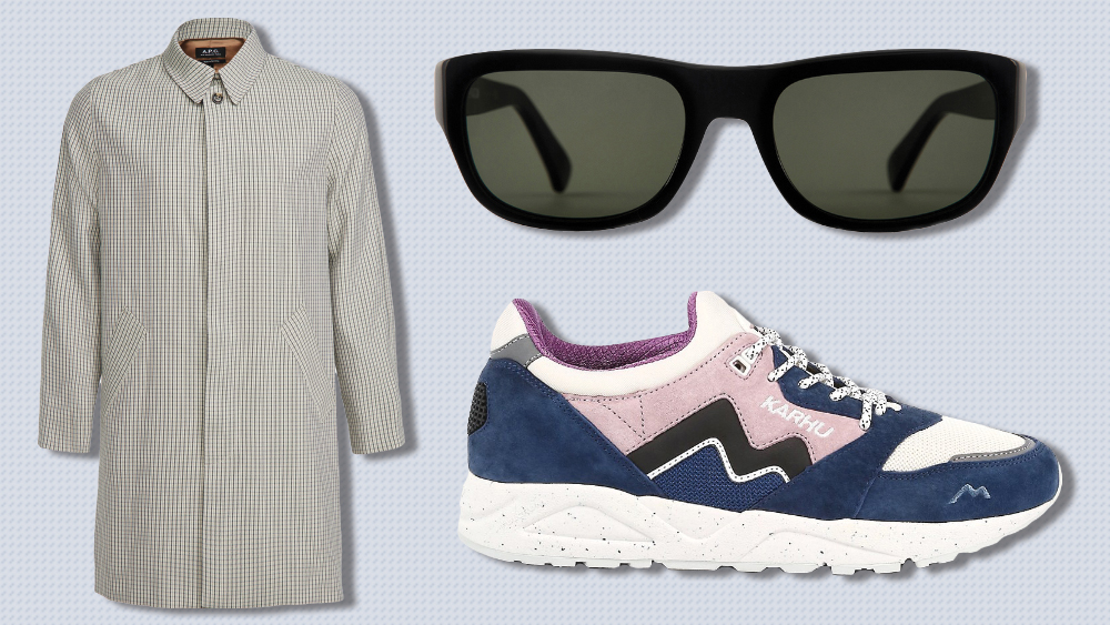 A.P.C. coat, Curry & Paxton sunglasses, Kahru sneakers