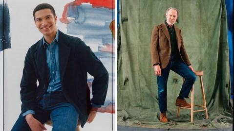 Drake's denim jeans and shirts.