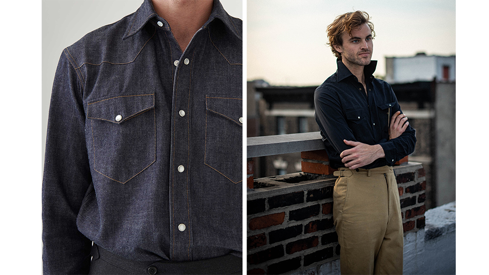 Husbands denim Western shirt, left, and J. Mueser's 'Neapolitan Snap', right, are casually elegant when worn with tailored trousers.
