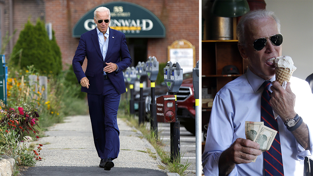 Vice President Joe Biden, right, gets ready to pay for an ice cream cone after a campaign rally for U.S. Sen. Jeff Merkley in Portland, Ore., Wednesday, Oct. 8, 2014. Biden was in Portland campaigning for Merkley who is being challenged by Republican Monica Wehby.(AP Photo/Don Ryan)