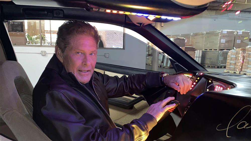 David Hasselhoff in his KITT car