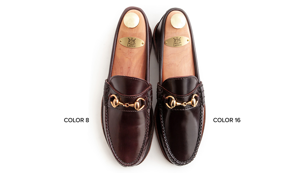 Comparing the new loafer's deep oxblood to the previous iteration's rich brown.