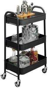 mDesign Metal Three-Tier Rolling Household Storage Cart