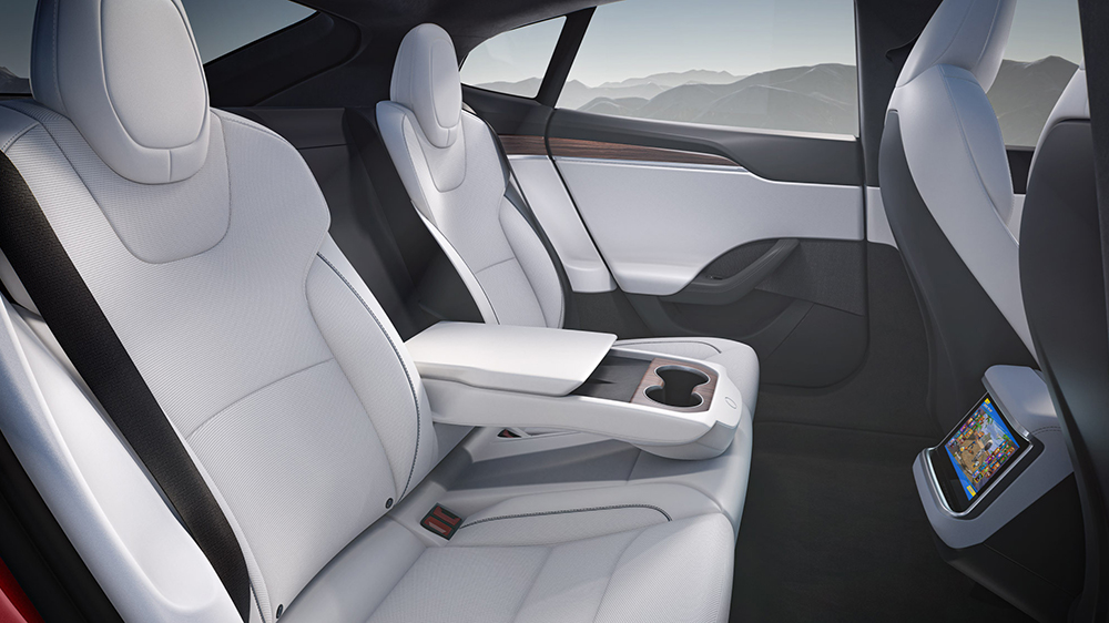 The back seat of the redesigned Model S