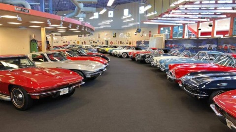 The floor at Rick Treworgy's Muscle Car City