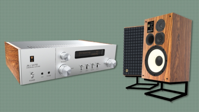 The JBL SA750 Integrated Amplifier and limited-edition L100 Classic 75 loudspeaker.
