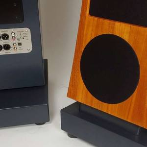 The front and back of JansZen Audio's Valentina A8 loudspeakers.