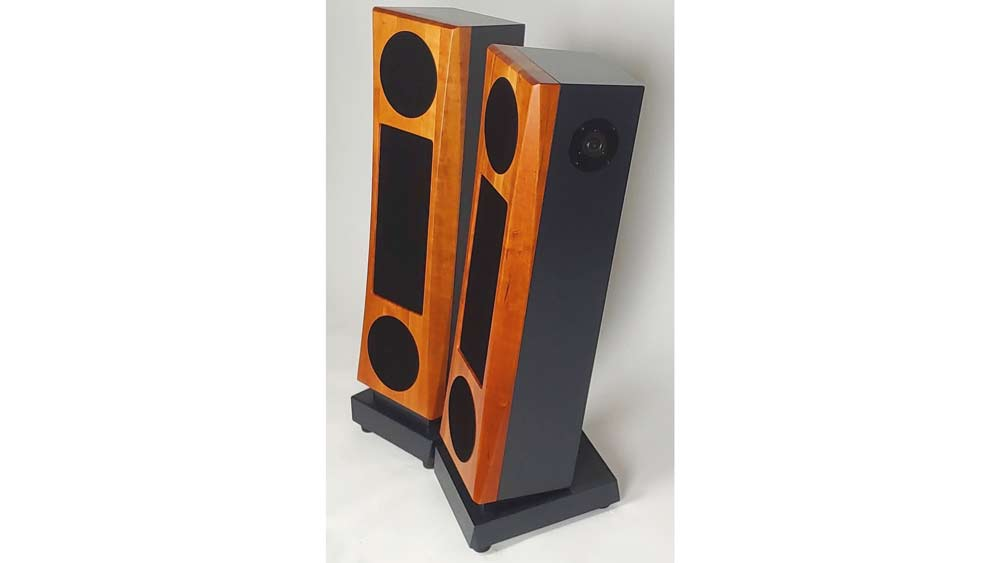 JansZen Audio's Valentina A8 loudspeakers feature solid hardwood front baffles, available in maple, cherry (shown here) or walnut.