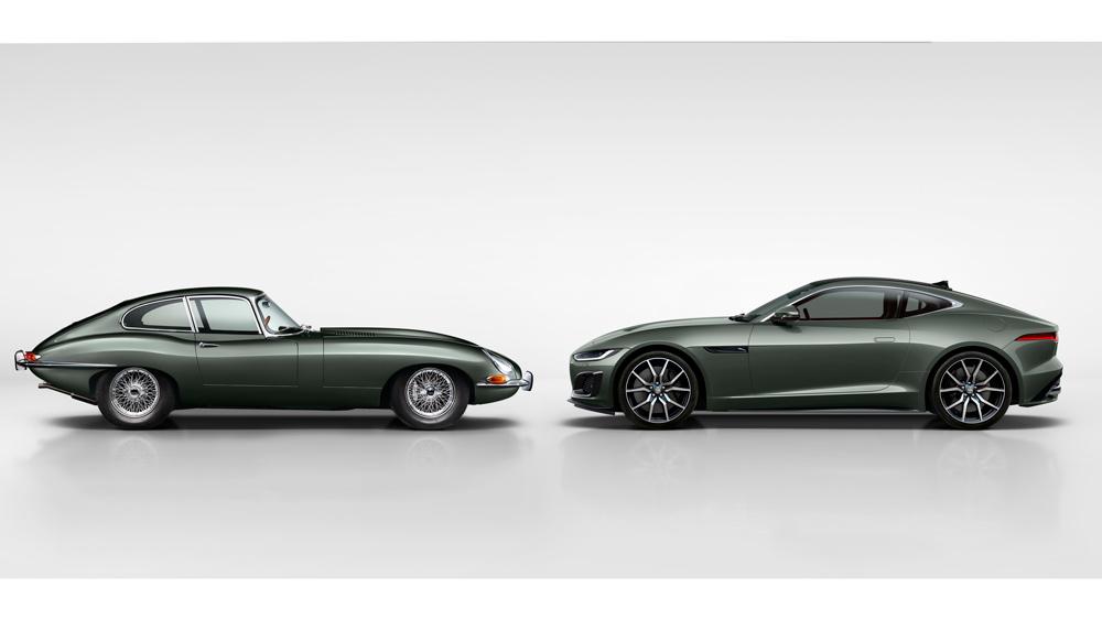 The Jaguar E-type (left) and Jaguar F-type Heritage 60 Edition (right).