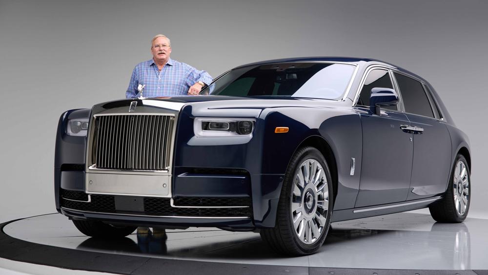 Rolls-Royce customer Jack Boyd Smith Jr. and his bespoke Rolls-Royce Phantom that features Hawaiian Koa wood inside.