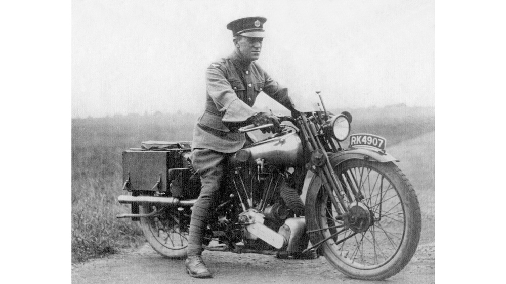 T.E. Lawrence on one of his Brough Superior SS100 motorcycles.