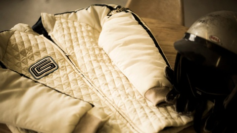 The Ford v. Ferrari Carroll Shelby Crew Jacket, in white with blue stripes, from Original Venice Crew Apparel.