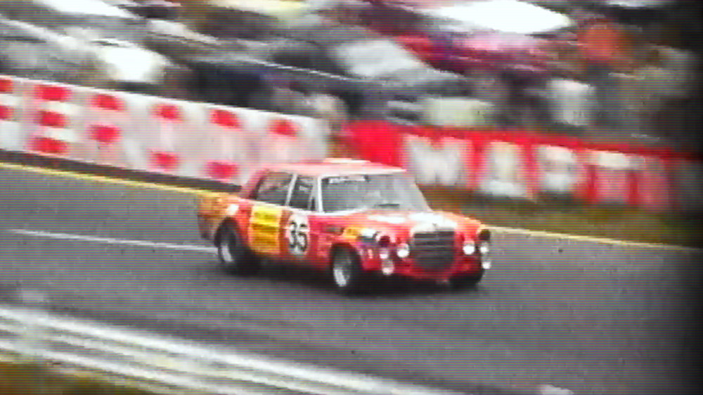 """The Mercedes """"Red Pig"""" competing in the 1971 Spa Francorchamps 24 Hours race."""