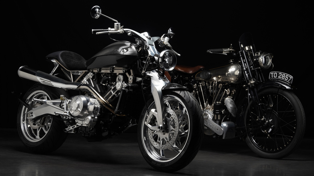 The Brough Superior Lawrence (left) alongside the SS100 (right), introduced in 1924.