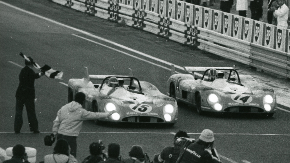 A pair of Matra race cars cross the finish line together at Le Mans on June 11, 1972.