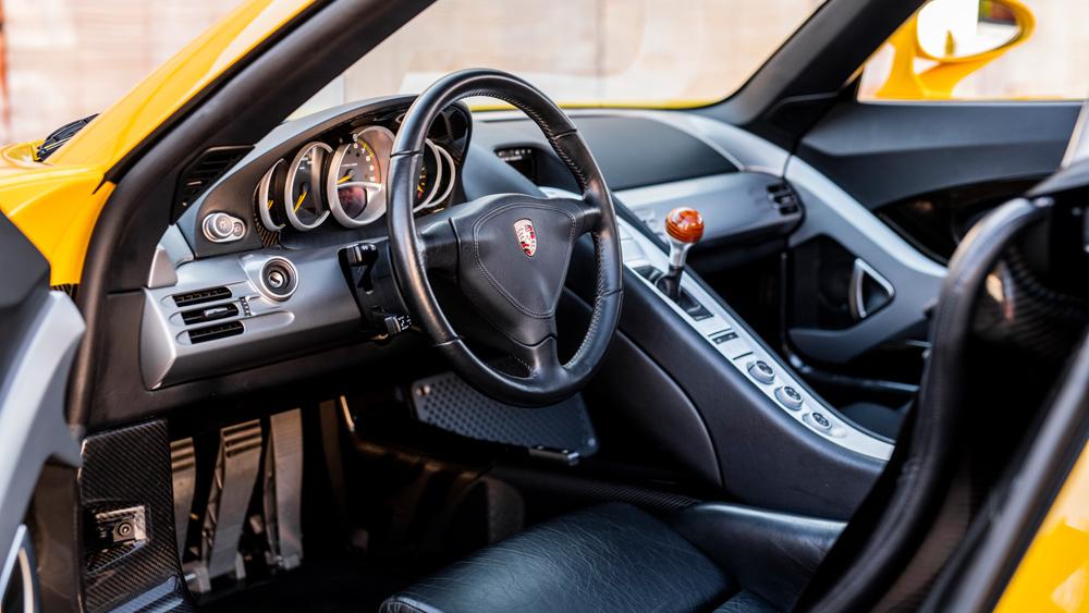 Inside a 2004 Porsche Carrera GT.