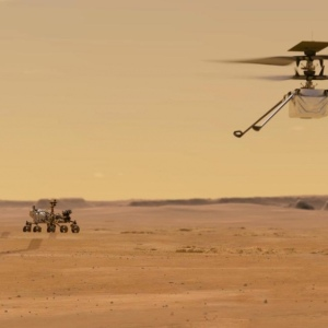Mini helicopter eVTOL Ingenuity on Mars