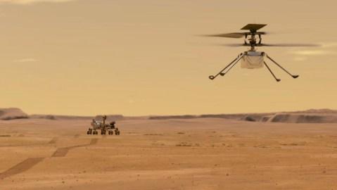 Mini helicopter eVTOL Ingenuity on Mars