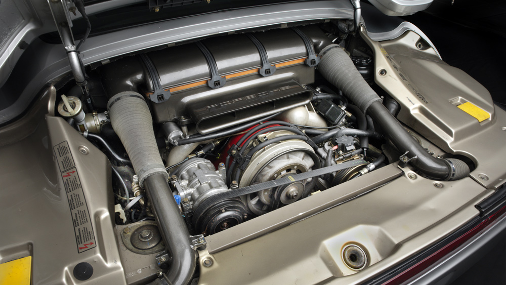 The engine inside the Brumos Collection's Porsche 959 prototype.