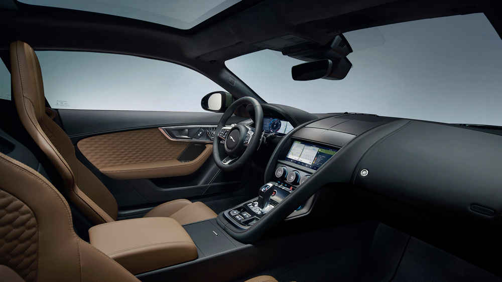 The interior of Jaguar's F-type Heritage 60 Edition.