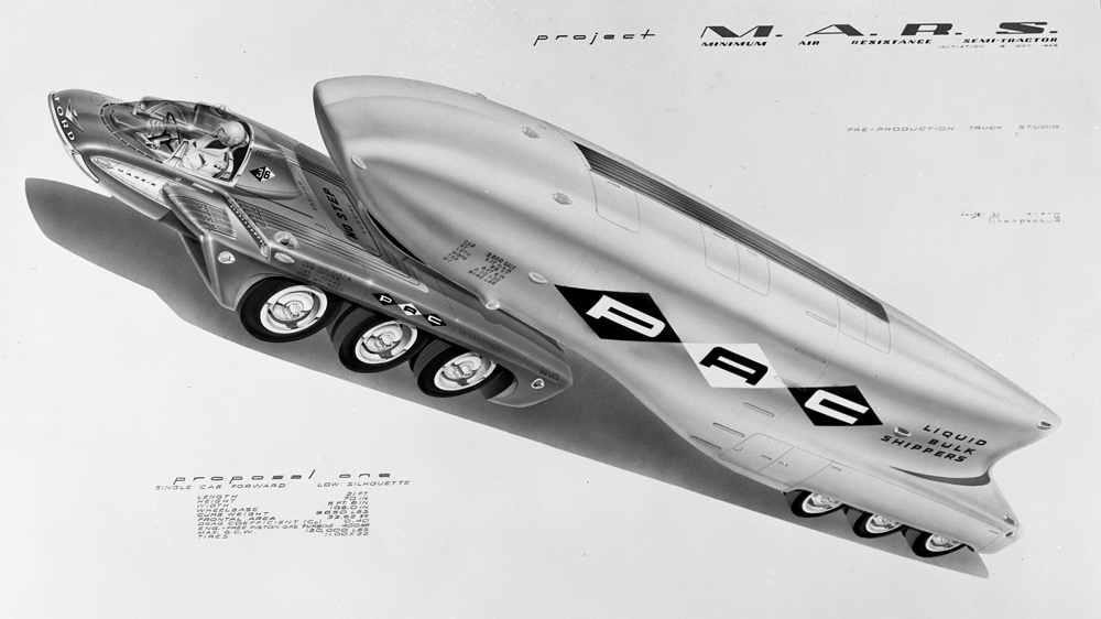 One of automotive designer McKinley Thompson's renderings of a futuristic Ford truck concept, circa 1956.
