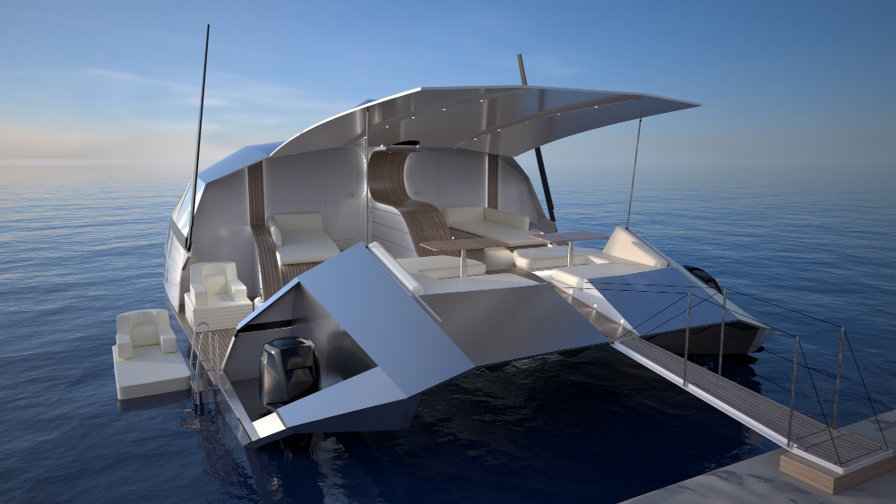 The motoryacht version has a 500-square foot cockpit that opens, for docking or anchoring offshore.Courtesy Advanced Aerodynamic Vessels