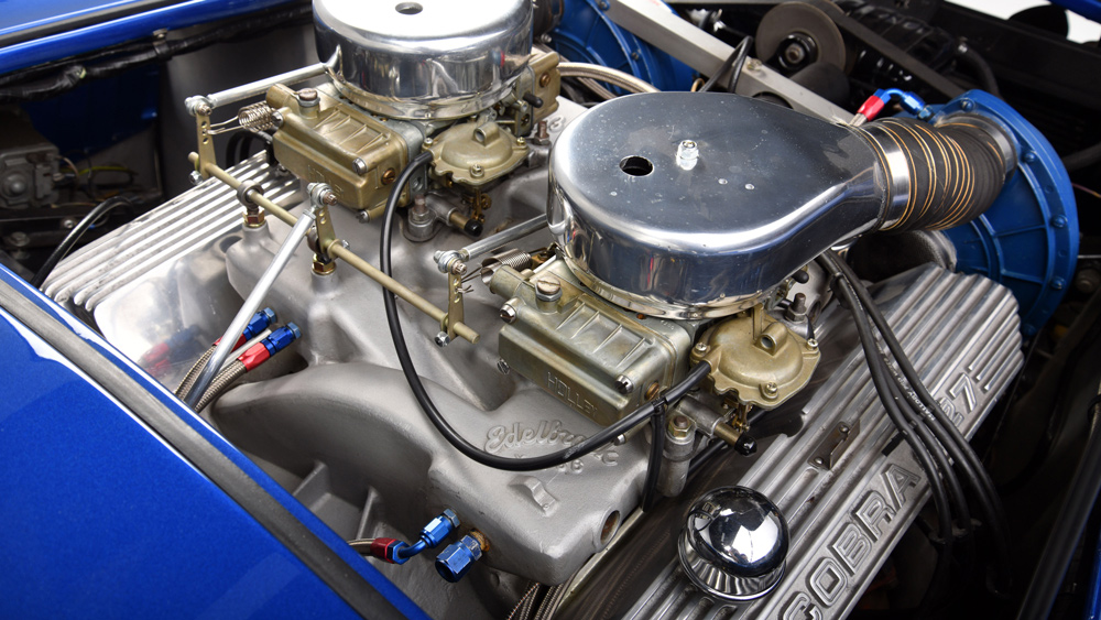 The engine of the 1966 Shelby Cobra 427 Super Snake once owned by Carroll Shelby himself.