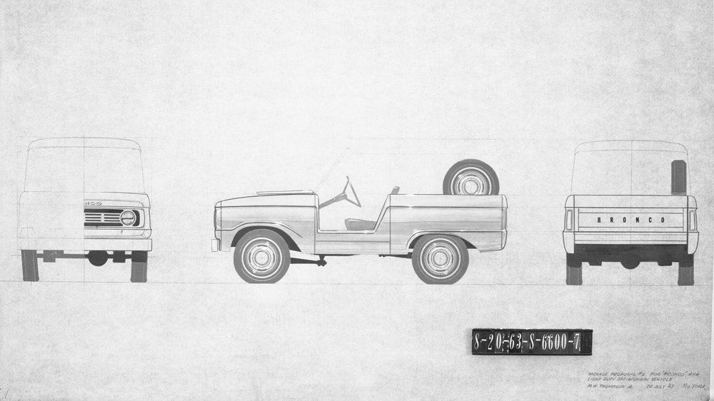 Some of automotive designer McKinley Thompson's early sketches of the original Ford Bronco, dated July 24, 1963.