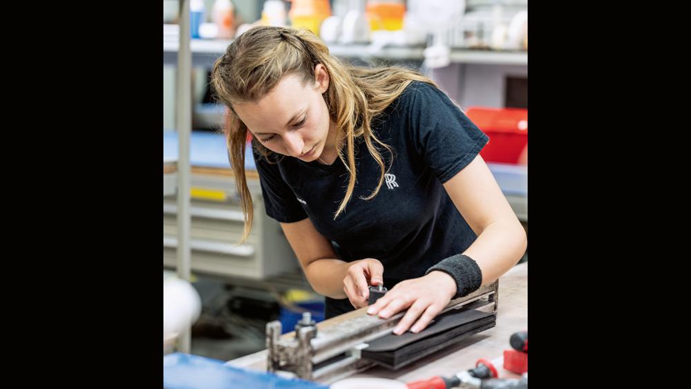 Grace Bramley, woodshop technician at Rolls-Royce Motor Cars.