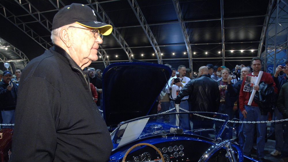 Automotive icon Carroll Shelby at a Barrett-Jackson auction in 2007.