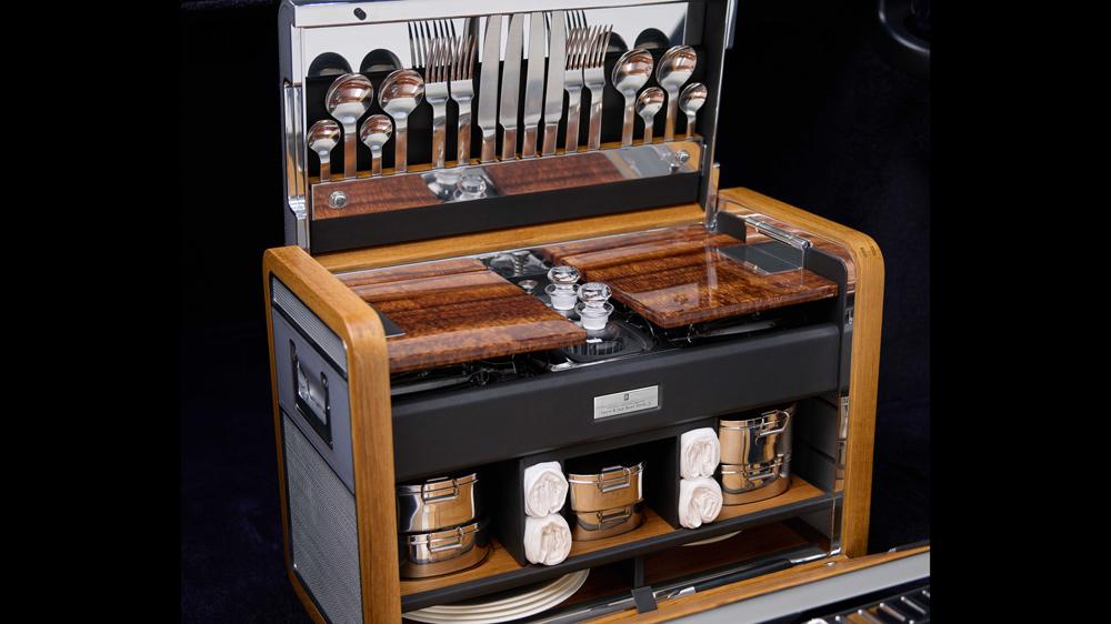 The matching picnic hamper of a bespoke Rolls-Royce Phantom that features Hawaiian Koa wood.