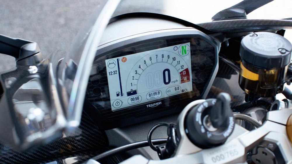The dash on Triumph's Daytona Moto2 765 motorcycle.