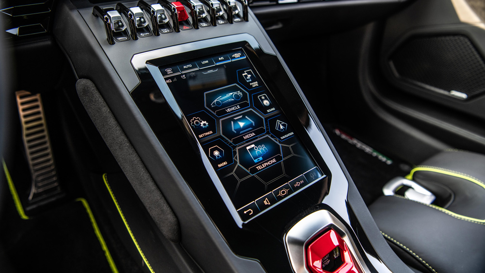 The HMI infotainment system inside the Lamborghini Huracán Evo RWD Spyder.
