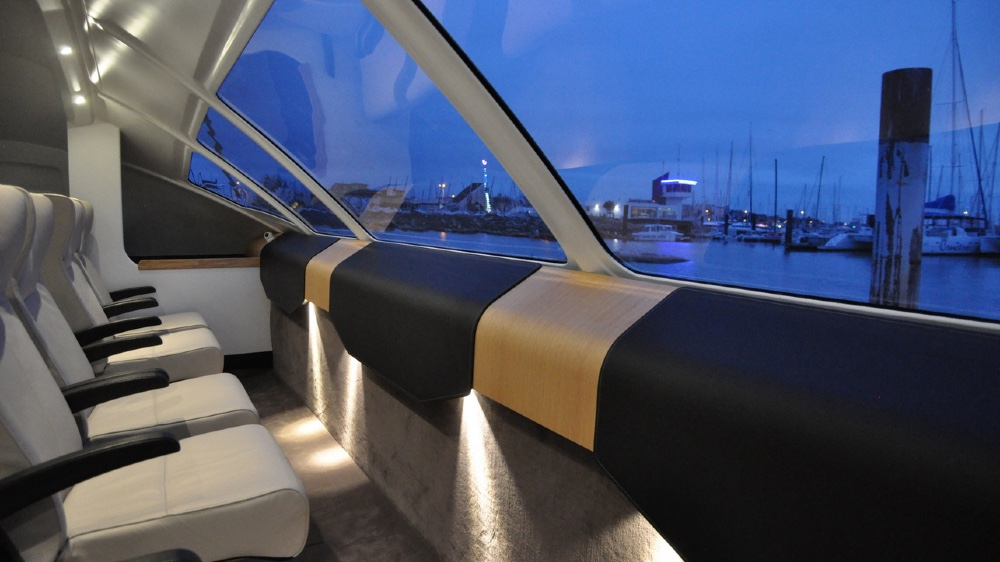 Large windows are placed across the front of the yacht so passengers will have a clear view of the water.Courtesy Advanced Aerodynamic Vessels