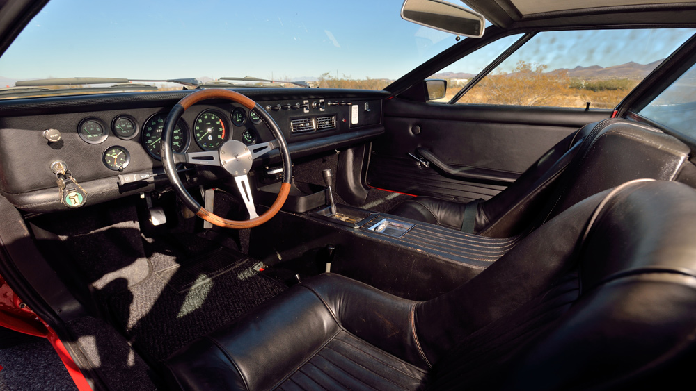 The cockpit of a 1970 De Tomaso Mangusta.