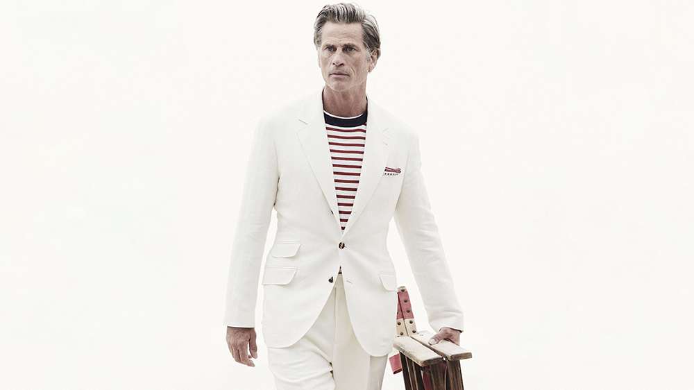 Brunello Cucinelli linen suit and cotton sweater