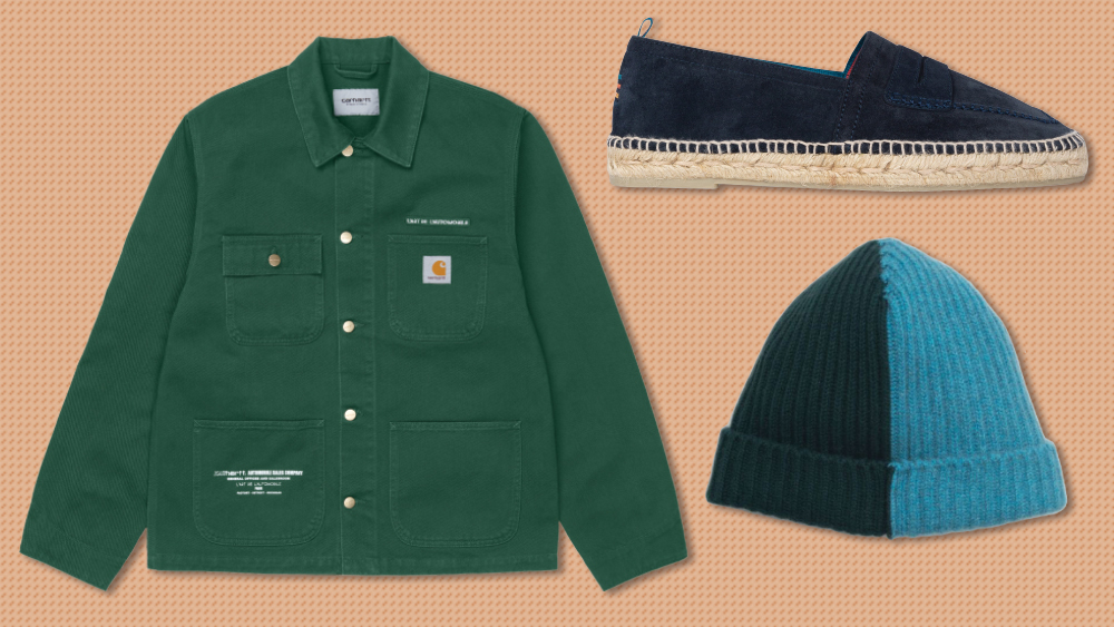 Carharrt jacket, Paul Smith espadrille, Begg & Co. beanie
